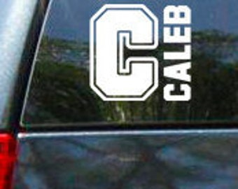 Sports Theme Personalized Name and Initial Vinyl Vehicle Decal