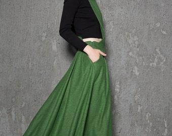Apron dress, viking dress, green winter dress, wool maxi dress, warm dress, womens dresses, handmade dress, flare dress, long dresses C733