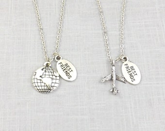Long Distance Friends Necklace, Long Distance Friendship Set, 2 Best Friend Necklace, Long Distance, Plane World, Mean the World, BFF