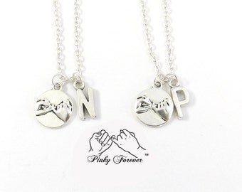 2 Best Friend Initial Necklaces, Pinky Promise Necklace, Couples Necklace, Boyfriend Girlfriend, His Hers, Pinky Swear