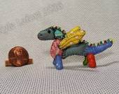 Mini Patchwork Dragon No. 23 - Dollhouse Miniature Stuffed Animal - Artisan OOAK