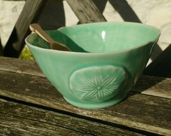 Pottery Sugar Bowl  with Maple Wood Scoop Turquoise/Mint Green Porcelain Kitchenware Handmade in UK
