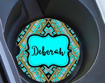 Birthday present for teen daughter, Personalized aztec car coaster, Turquoise gray, Tribal cup holder coaster, Car decor for girls (1669)