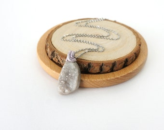 Light Cool Gray Sparkling Crystal Stone Pendant Necklace, One-of-a-Kind Gemstone Jewelry