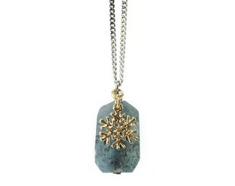Raw Kyanite Necklace with Snowflake Charm, Simple Stone Pendant, Blue Kyanite Jewelry