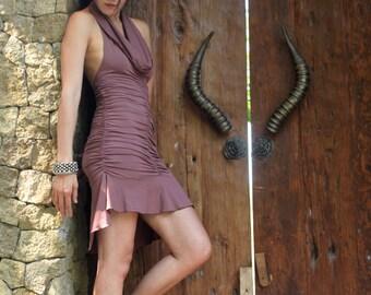 Flower Dress ~ Fishtail ~ Cowl Neck Dress ~ Nutmeg ~ High low dress ~ Halter dress