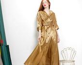 Vintage 1940s Gold Lame Stripe House Metallic Gown Maxi Dress M L