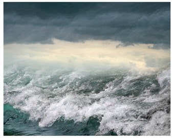 Ocean waves art print, stormy sea photography, teal water large wall art, oversized landscape photo poster, nautical decor,24x30, 16x20,8x10