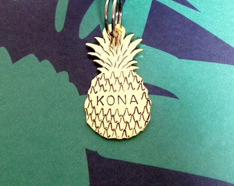 Pineapple Pet ID Tag- Handmade - Copper or Brass - Personalize - Unique