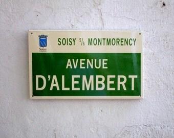 Vintage 1960-70s French Enamel Street Sign AVENUE D'ALEMBERT Suburb North of Paris