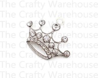 Tiara Chunky Necklace Pendant | Jumbo Rhinestone Crown Pendant | 2.25 inch | Chunky Necklace Pendant | Princess Pendant | DIY