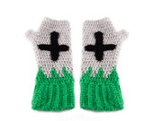 Tombstone Fingerless Gloves - Grey, Green and Black Grave Texting Gloves with Upside Down Cross - Gothic Spooky Halloween Winter Arm Warmers