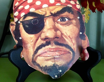 Vintage Halloween Pirate with Patch Cardboard Blackbeard Mask 1950s Old Halloween Display Autumn Fall Decor Collectible