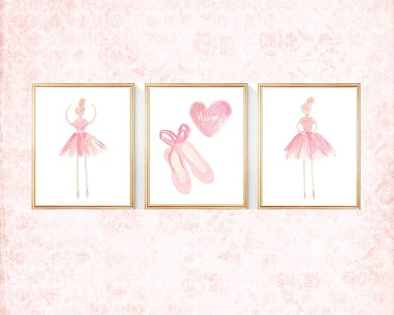 Ballerina and Ballet Slippers Prints with Custom Name, 8x10 set of 3