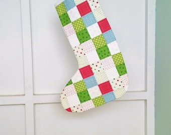Christmas Stocking, Holiday Decor, Holiday Gift, Turquoise (Aqua) Red Green and White Quilted Cotton Lined Christmas Ornament
