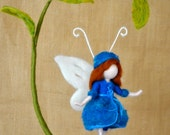 Butterfly Fairy  Room Decoration Waldorf inspired  : Blue butterfly and leaves