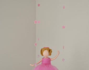 Waldorf inspired needle felted doll mobile: Ballerina in pink