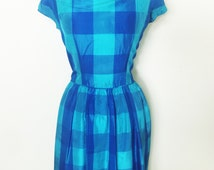 Beautiful 1950s Turquoise & Blue Tartan Check Dress from Berketex Continentals, Size Large