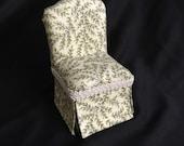Parsons Chair in Cream w Green Vines - Dollhouse Miniature