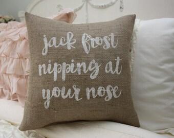 Burlap Pillow / Christmas Pillow / Jack Frost
