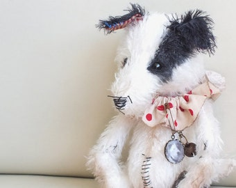 Jack Russell Terrier - vintage style - handmade - collectable teddy - MADE TO ORDER
