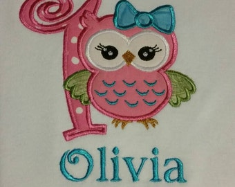 Owl first birthday onesie personalized with name