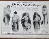 JB, Pontings, corsets, 1918, vintage, ad, original, fashion, women, English, Kensington, advertisement, free shipping, paper, ephemera