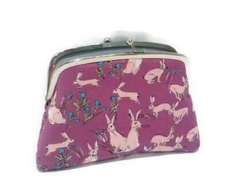 Hare kiss lock wallet in purple with two sections - cute rabbit woodland animal design, fabric vegan coin purse, snap clasp clutch