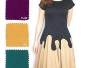 """Jerseykleid """"Celine"""" in Deinen Wunschfarben mit angeschnittenen Ärmeln, Scuba-Kleid mit schwingendem Rock, knielang, Midikleid, viele Farben"""