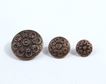Flower Detail Copper Metal Shank Buttons (5pk)