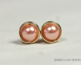 Gold Pearl Stud Earrings Wire Wrapped Jewelry Rose Gold Stud Earrings Swarovski Pearl Earrings Rose Gold Pearl Earrings Peach Studs