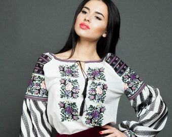 "Emrbroidered blouse ""Motives from Borshiv"" cross-stich embroidery"