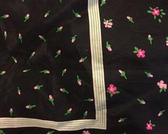 Vintage 1980s Diane Von Furstenberg black floral print silk scarf