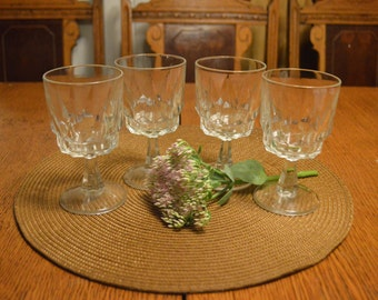 Vintage French Footed Wine Glasses, Set of 4