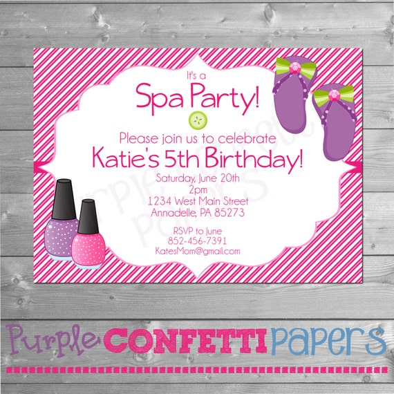 Spa party invitation spa birthday party manicure pedicure glam il570xn stopboris Images