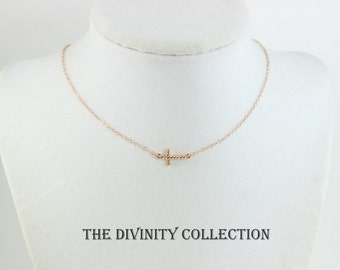 Sideways Cross Necklace Women Rose Gold Filled Silver Small Tiny Crystal Sideway Delicate Christina Jewelry Gift Minimalist Necklaces