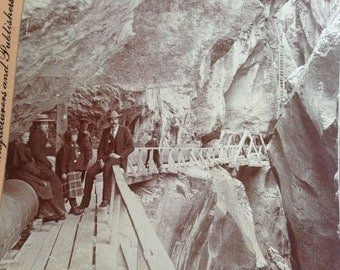 antique stereoview card miners in box canyon