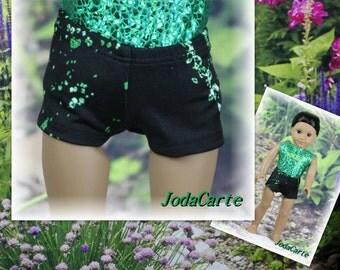 Green Splashes Doll Shorts for American Girl Doll