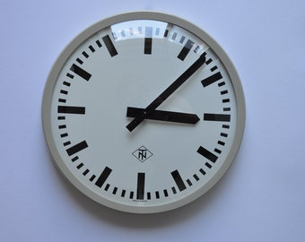"14"" diameter Vintage German Industrial wall clock from TN. 1970s. Gray Rim.  Made in Germany. 1181"
