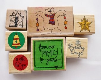 Christmas Rubber Stamps Set of Seven