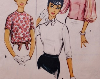 1950s Blouse Vintage Sewing Pattern/ McCalls 5047 / Bust 34