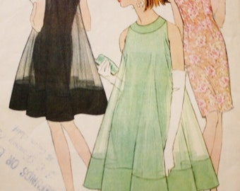 1960s Dress Sewing Pattern Dress and Overdress McCalls 8517 Vintage Pattern Bust 34