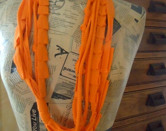 Orange Handmade T-Shirt Scarf, Eternity Scarf, Recycled Shredded Jersey Scarf, Infinity Scarf, Fabric Chakra Necklace #1111