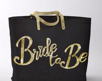 Bride Tote Bag - Gold Sequin Wedding Jute Tote Bag, Bride Tote, Bridal Tote Bags, Bridal Shower Gift Tote, Bride Gift Tote Bride's Tote