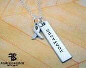 Survivor Necklace, Cancer Jewelry, Unisex Survivor Necklace, Breast Cancer, Cancer Awareness, Motivational Jewelry, Fearless Jewelry