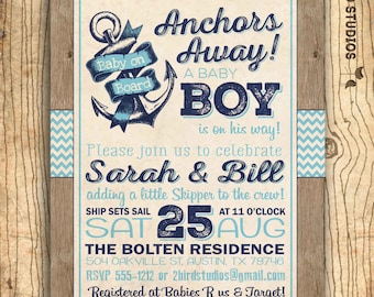 Ahoy it's a boy baby shower invitation - Nautical baby shower invitation - boy baby shower - Rustic chalkboard sailor baby shower - DIY