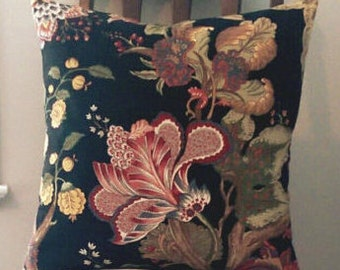 Jacobean Floral on Black Pillow Cover-20x20 coral, grey and mustard floral-18x18 Victorian Throw Pillows-FREE SHIPPING-large flowers cushion