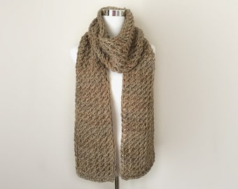 cappuccino chunky hand knit scarf gift or for you