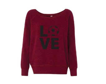 Black and Red Love Soccer - Fleece Slouchy Wideneck Sweatshirt