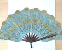 Vntg Indonesian hand fan pierced buffalo skin green gold wayang puppets 22 cm 8 inch